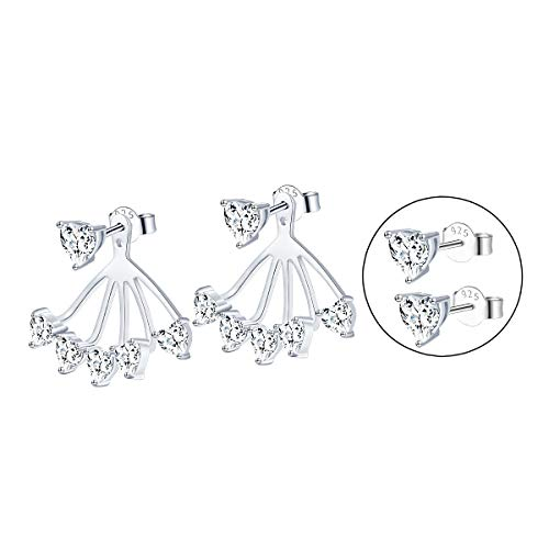 S925 Sterling Silver leverback Lotus Heart Clasp Stud Dangle Drop CZ Jacket Simple Chic Back Earrings for Women Girl Jewelry