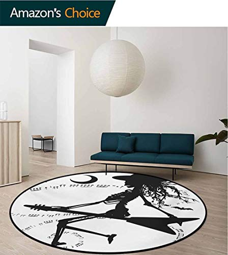RUGSMAT Music Area Rugs Ring 3D Non-Slip Rug,Witch Flying On Electric Guitar Notes Bat Magical Halloween Artistic Illustration Living Room,Bedroom,Desk/Chair Mats,Round,Round-59 Inch -