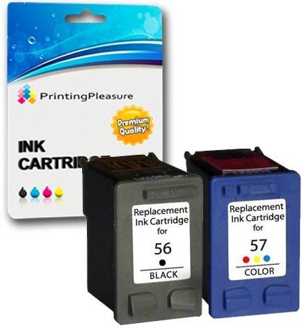 Printing Pleasure - Cartuchos de tinta reciclados equivalentes a los modelos 56 y 57 de HP para impresoras HP PSC 1100, 1110, 1200, 1205, 1209, 1210, 1210A2L, 1210V, 1210xi, 1215, 1216, 1219, 1300, 1310, 1312, 1315, 1315s, 1317, 1350, 1350xi, 1355, 2100, 2
