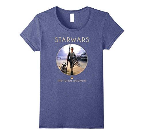 Womens Star Wars Rey BB-8 Episode 7 Jakku Poster Graphic T-Shirt Small Heather Blue