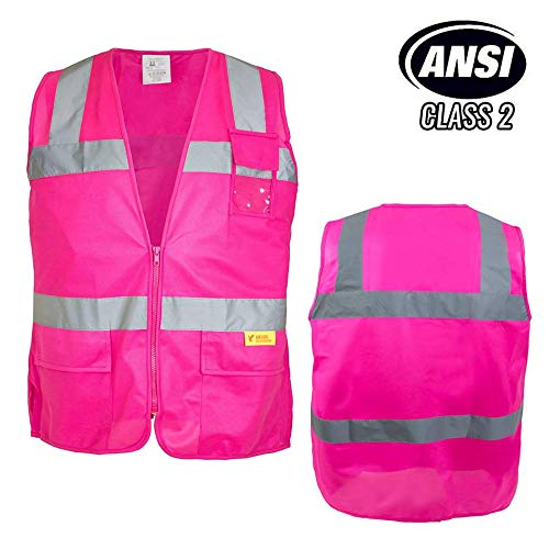 Troy Safety Class 2 Hi-Vis Safety Pink Vest with Reflective Strips and Pockets For Female(Medium) ()