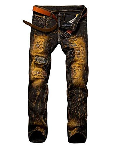 Pantalones De Mezclilla para Hombres Agujeros De Color Skinny Nostálgico Cher Pantalones De Moto Pantalones Vaqueros De Mezclilla Pantalones Ocasionales De Mezclilla De Moda Vintage Aspicture
