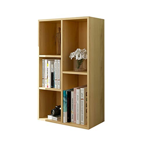 Xing Hua Shop 5 Bookshelf Home Bay Window Bookcase Bedroom Locker Shelf Living Room Combination Floor Bookcase (Color : Wood Color, Size : 502480cm) - 3 Bay Shelving