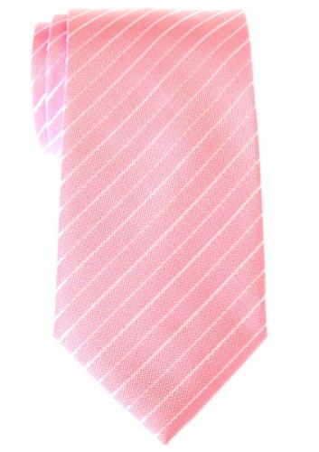 (Retreez Classic Thin Stripe Woven Men's Tie - Pink with White Thin Stripe )