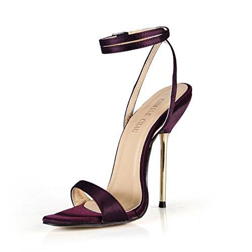 A moda Metallo satin Viola Chau partito Spillo Da Donna Alto sexy Alla scarpe Chmile tacco cinturino Caviglia sandali Tacco xeWQCEBord