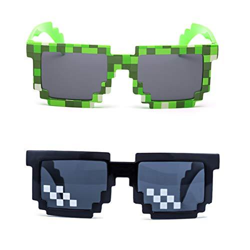 kilofly 2pc 8-Bit Pixel UV Protect Gamer Sunglasses Adult Kids Party ()