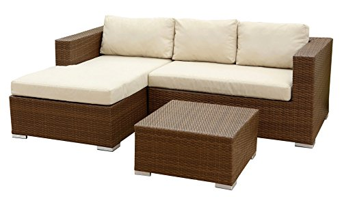 Abbyson Ventura Outdoor Wicker Sectional and Table Set, (Person Seating)