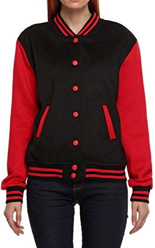 Review Meaneor Women's Long Sleeve Letter Print Casual Varsity Jacket Red and Black XXL