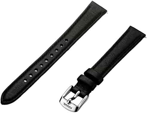 Fossil Women's S141065 Leather 14mm Watch Strap - Black