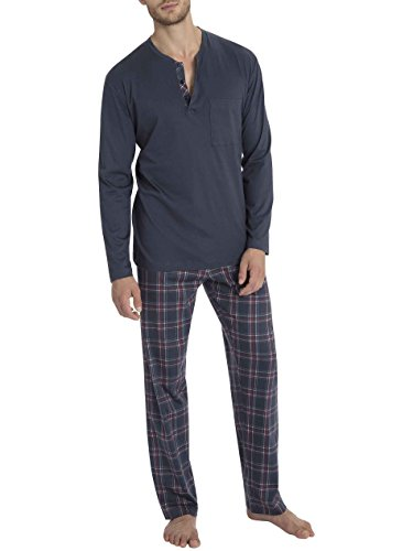 Calida Pajama - Calida Mens 3 Button 100% Cotton Interlock Pajamas Set 46663 (478, X-Large)