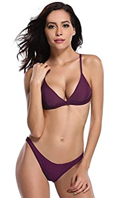 SHEKINI Women's Triangle Bikini Bathing Suits (Purple, Medium)