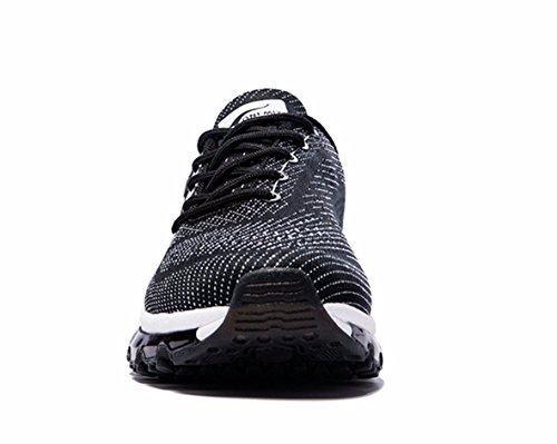 Onemix Chaussures De Course À Air Pour Les Femmes, Conception De La Langue En Pente Noir / Blanc