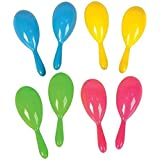 """Add Life To The Party! 24 Neon Maracas, Bright and Colorful Party Favors, Noisemaker for New Years Party, 4"""" Neon Maracas - For Mexican Fiesta, or Classroom Musical Instrument, 1 Dozen Pairs"""