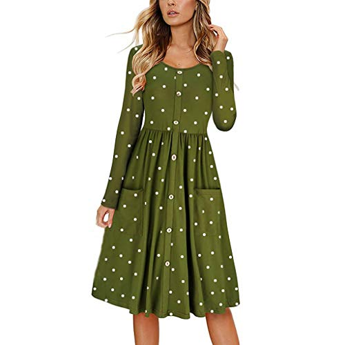 COOlCCI_2019 NEW ARRIVAL Women's Long Sleeve Pleated Pockets Polka Dot Loose Swing Casual T Shirt Dress Green