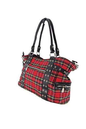 cf29bfd064ce Banned Apparel Red Tartan Plaid Punk Purse with Handcuff Skull Charm ...