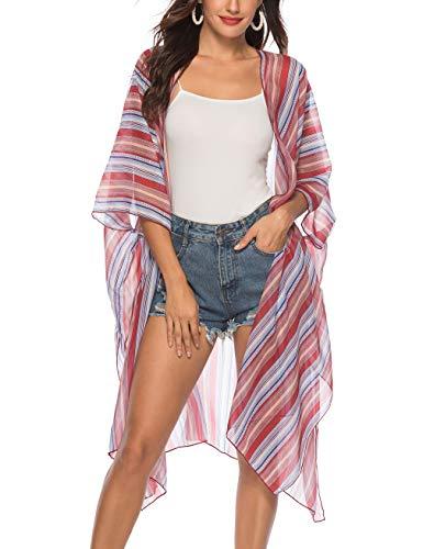 Women's Cover Ups-Long Slit Batwing Stripe Chiffon Kimono Cardigan Beachwear Swimsuit ()