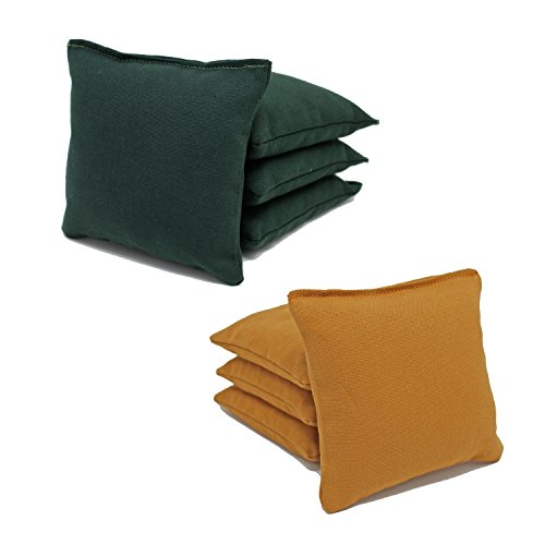 Free Donkey Sports Cornhole Bags (Pack of 8), Gold/Hunter Green, Regular (Green Corn)
