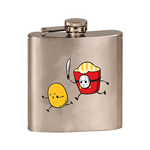 French Fried Jason Funny Horror Film Parody - 3D Color Printed 6 oz. Stainless Steel Flask (Steel Silver)