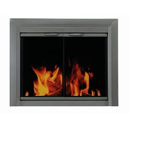 Pleasant Hearth CR-3402 Craton Fireplace Glass Door, Gunmetal, Large - Fireplace Frame