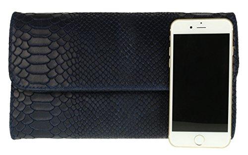 Italiana Azul De Piel Mano Bolso Con Estampado Handbags Marino Serpiente Girly ZqwRSH