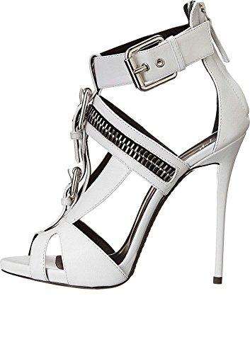 AIWEIYi Womens Open Toe Zipper Buckles Ankle Wrap Stiletto High Heel Sandals Platform Dress Shoes White 5hhfwd4i