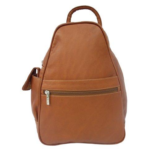 - Piel Leather Tri-Shaped Sling Bag, Saddle, One Size