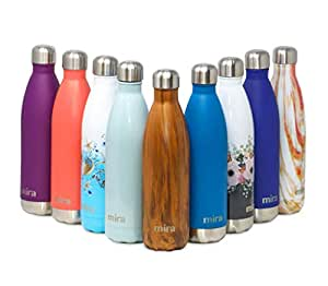 MIRA Vacuum Insulated Travel Water Bottle | Leak-Proof Double Walled Stainless Steel Cola Shape Portable Water Bottle | No Sweating, Keeps Your Drink Hot & Cold | 17 Oz (500 ml) | Wood