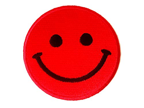 Tyga_Thai Brand Funny Smiley Smile Happy Red Face Cute Logo Badge Applique Embroidered Sew Iron on Patch (Iron-Smile-FACE-RD) ()