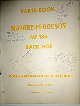 Massey Ferguson MF 185 Backhoe Parts Catalog Book Manual 12