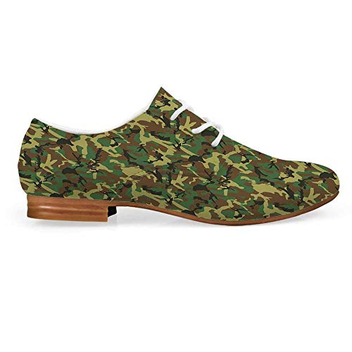 Camo Leather Lace up Oxfords Shoes,Woodland Camouflage Pattern Abstract Army Force Hiding in Jungle Bootie for Girls ladis Womens,US 7