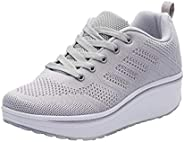 WUIWUIYU Womens Outdoor Casual Wedge Platform Mesh Lace-Up Sport Athletic Rocker Shoes Sneakers