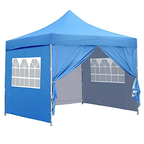 10×10 Ft Outdoor Pop Up Canopy Tent With 4 Removable Side Walls Instant Gazebos Shelters Blue