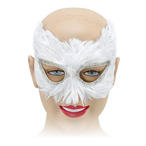Bristol Novelty EM042 Feather Eye Mask, Womens, White, One Size