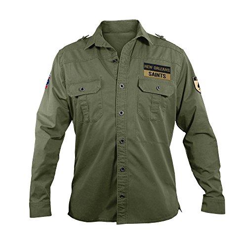 NFL New Orleans Saints Men's Military Field Shirt, XL