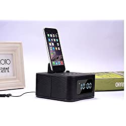 IRISTIME Bedside Bedroom Multi-use Wireless Bluetooth Speaker Support With FM Radio, Alarm Clock, Charging For ipod/iphone(Lighting Interface) - Black S1pro