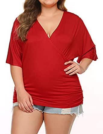 IN'VOLAND Womens Plus Size Tops V Neck Wrap Short Sleeve Shirts Casual Loose Dolman Top Tunic Blouses Red
