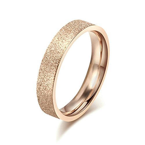 AmDxD Jewelry Stainless Steel Women Engagement Rings Rose Gold Scrub Design,Free Lettering,Size 8