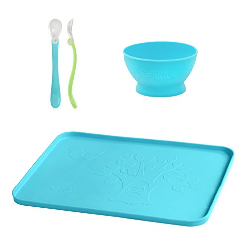 I PLAY. Green Sprouts Silicone Feeding Set, Aqua