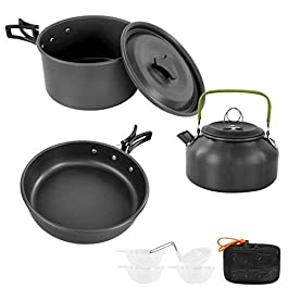 Sempiyi Portable Camping Cookware Set, Lightweight, Durable, Mini Aluminum Folding Pot with Storage Bag