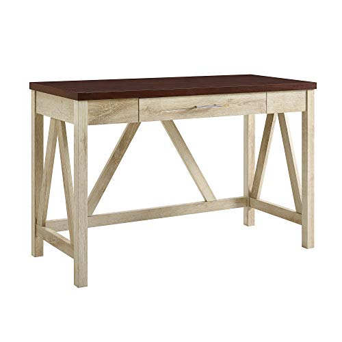 "WE Furniture AZW46AFTB Desk, 20"" L x 46"" W x 30"" H, White Oak/Traditional Brown"
