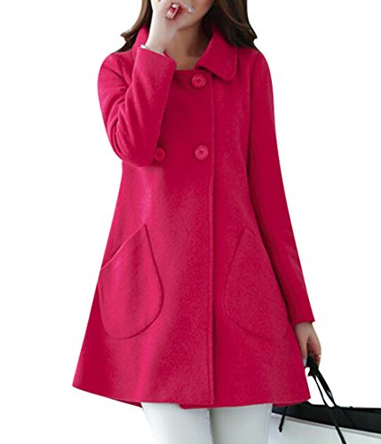 SYTX-women clothes Jotebriyo Womens Winter Warm Double Breasted A-Line Swing Wool Trench Pea Coats Rose Red L -