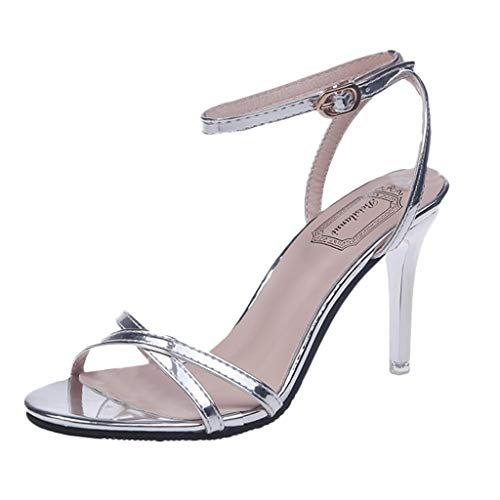 Womens Comfortable Strappy Chunky Block Ankle Strap Open Toe Stilettos Open Toe Pump Heeled Sandals Silver ()
