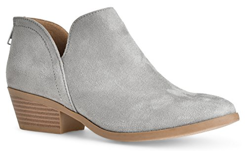 Women's Madeline Western Pointed Toe Slip on Bootie - Low Stack Heel - Zip Up - Casual Ankle Boot by LUSTHAVE Light Gray Suede 8.5