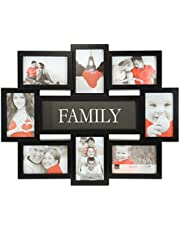 """kieragrace KG Family Eight Openings Collage Frame - Black, 17.5"""" by 22"""", Eight 4"""" x 6"""" Photos"""
