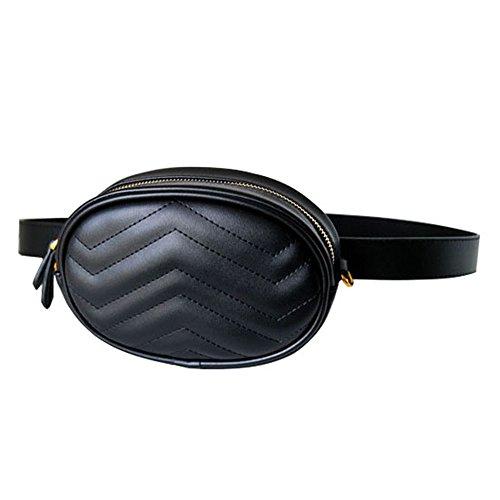 Leather Fanny Pack Waist Bag 2 Ways Stylish Qualited Belt Bag Cellphone Bag Chain Shoulder Bag (Black-PU)
