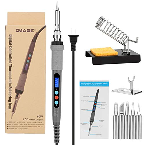 Welding Soldering Iron with Thermostatic Digital-Controlled and LCD Screen Display, 60 W Temperature Adjustable 80?/356?-480?/896? with 5 PCS Soldering Bits, 2 Soldering Iron Stands & 1 Sponge