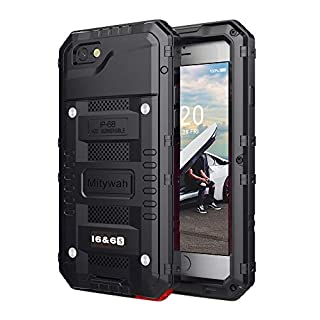Mitywah Waterproof Case Compatible with iPhone 6 6s Heavy Duty Shockproof Tough Metal Full Body Protective Built-in Screen Protection, Military Grade Rugged Defender Impact Case for 6 / 6s,Black