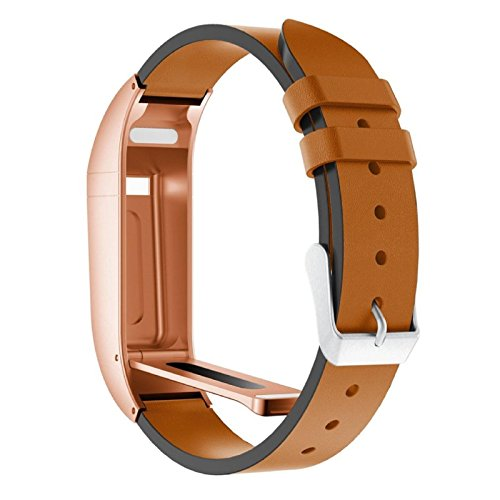 Price comparison product image Owill Luxury Durable Leather Replacement Wrist Band Strap With Metal Case For Fitbit Flex,  Fits for 6.10-8.26 Inches Wrist (Multicolour E)
