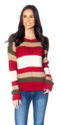 Women's Crew Neck Long Sleeve Striped Pullover Sweater Knitted Top