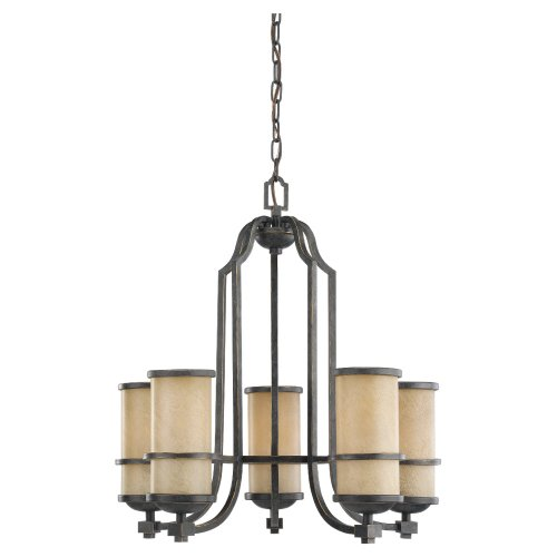Sea Gull Lighting 31521-845 Chandelier with Creme Parchment Glass Shades, Flemish Bronze Finish ()